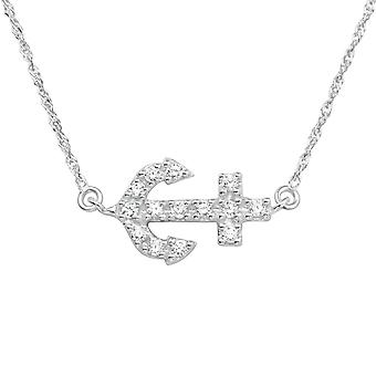 Anchor - 925 Sterling Silver Jewelled Necklaces - W18473X