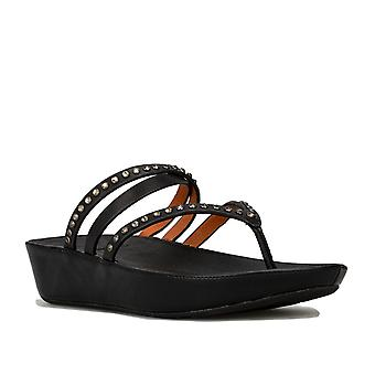 Womens Fitflop Linny Criss Cross Toe Thong Sandals In Black