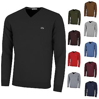 Lacoste Mens AH0844 V-Neck Wool Jersey Sweater