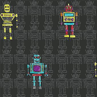 Retro Robot Black Wallpaper Kids Opera Fun Arthouse