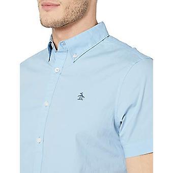 Original Penguin Men's Short Sleeve Core Poplin Button, Powder Blue, Size Large