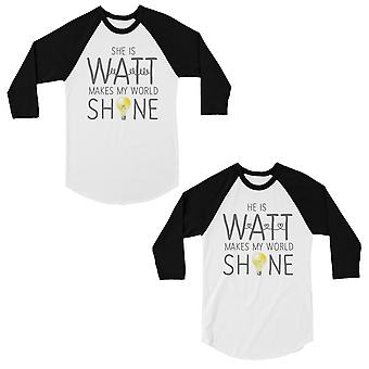 Watt World Shine licht matching paren honkbal shirts grappige geschenken