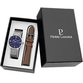 Pierre Lannier 395D168 Watch-Beaucour multifunctionele horloge Bo tier Milanese staal blauwe Cadran-mannen bruin lederen armband
