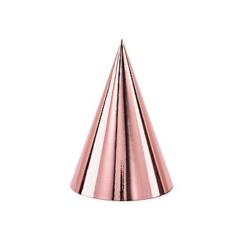 LAST FEW - 6 Foil Rose Gold Card Party Hats   Kids Birthday Party Hats
