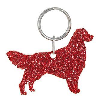 Red Golden Retriever Style 3 Glitter Acrylic Keyring