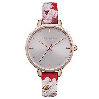 Тед Бейкер Кейт Кварц Серебряный Dial Красный цветочный кожаный ремешок Дамы Смотреть TE50005011
