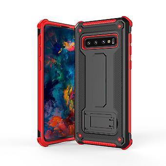 Samsung Galaxy S10 PLUS -kotelolle, erittäin ohut PC + TPU-panssaritakakansi, musta + punainen