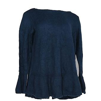 Style et Cie. Femmes plus Sweater Solid Pull-Over Dark Blue