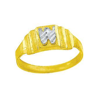 10k Dois tons Bebê dourado para meninos ou meninasNome Personalizado Monograma Initial W Band Ring Measures 6.3x2.50mm Wide S