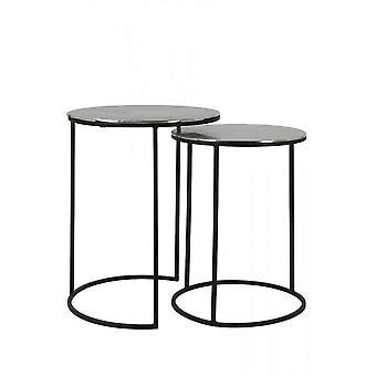 Könnyű és élő side table szett 2 35x48 és 40x53cm Thizas Nyers Nikkel-Matt Fekete