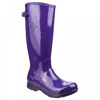 Muck Boots Ladies Bergen Glossy Purple Tall Lightweight Rain Neoprene Footbed Wellington Boots