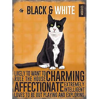 Medium Wall Plaque 200mm x 150mm - Black & White Cat by The Original Metal Sign Co