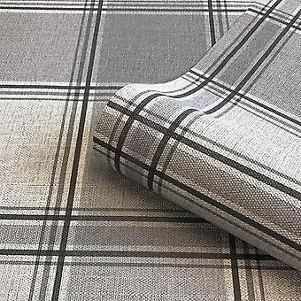 Giorgio Check Wallpaper Belgravia Decor Silver Grey Luxury Heavyweight Vinyl