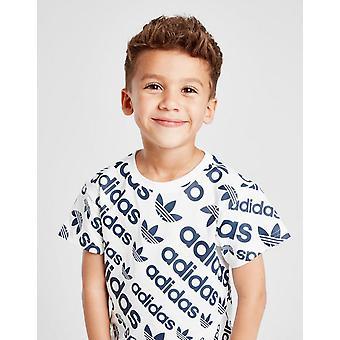 New adidas Originals Boys' All Over Print Short Sleeve T-Shirt White