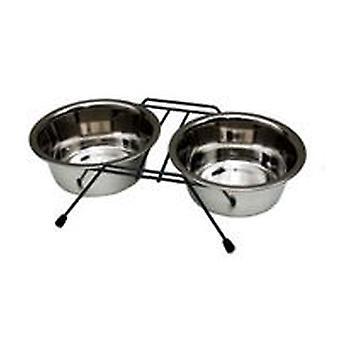 Поддержка двойных Freedog собаки (собаки, миски, кормушки & газированной водой)