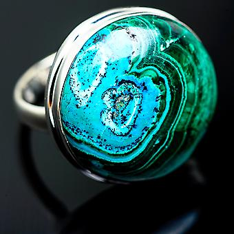 Gigantic Malachite In Chrysocolla Ring Size 10.5 (925 Sterling Silver)  - Handmade Boho Vintage Jewelry RING998283