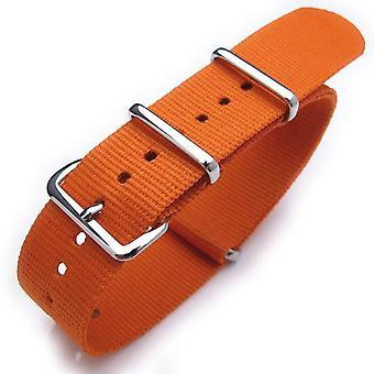 Strapcode n.a.t.o bracelet de montre 22mm chaleur scellée lourde boucle polie en nylon - orange