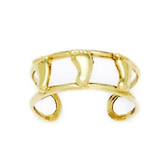 14k Yellow Gold Adjustable Double Row With Feet Body Jewelry Toe Ring Jewelry Gifts for Women
