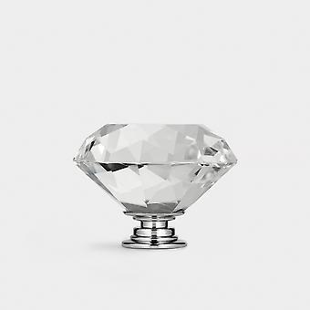 Crystal Door Knob - Clear / Silver - Diamond - 50mm