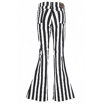 Run & Fly Black & White Striped Bell Bottom Stretch Flares