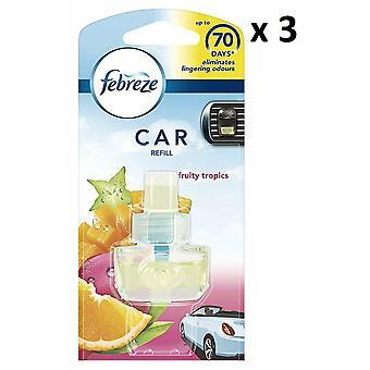 3 X Febreze Car Air Freshener Refill 7Ml - Fresh Escapes - Fruity Tropics