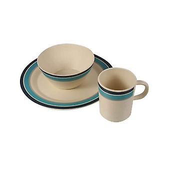 regatta bamboo crockery set for 2 persons with plates, mugs and bowls