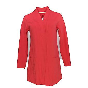 Isaac Mizrahi Live! Women's Top Open Front Cardigan Red A374242