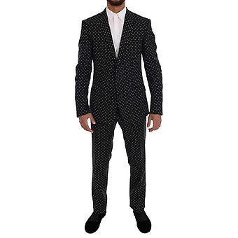 Dolce & Gabbana Black Wool Polka Dot MARTINI Slim fit Suit -- KOS1918640