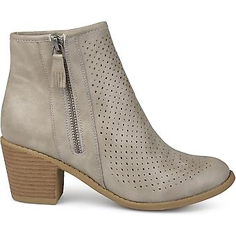 Brinley Co. Womens Malak Faux Leather Faux Wood Comfort-Sole Stacked Heel Laser-Cut Booties