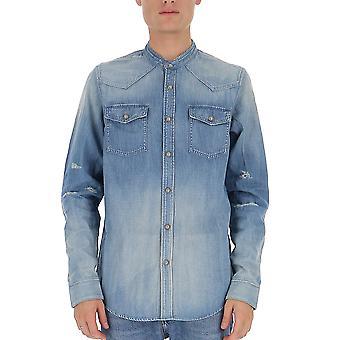 Balmain Sh02317z7656aa Hombres's Camisa de algodón azul