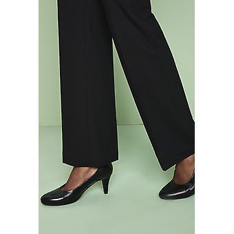 SIMON JERSEY Women's Black Leather Court Shoes