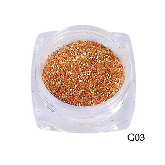 Nail Art Glitter Sequins - 3D Gold Silver Hexagon Sequins Sparkly Flakies Rhinestone
