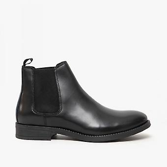Jack & Jones Jason Mens Leather Chelsea Boots Anthracite