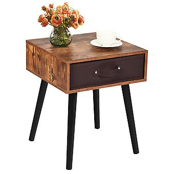 Industrial Wood Cabinet Bedside Table End Side Storage Nightstand Fabric Drawer