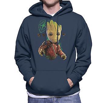 Marvel Guardians Of The Galaxy Baby Groot Eyes Logo Men's Hooded Sweatshirt