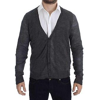 Gray Wool Button Cardigan Sweater -- SIG1981701