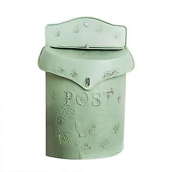 Pastoral And Lockable Secure Iron Post Box - Wall Mounted Creative Vintage Handmade Letter Newspaper Mailbox