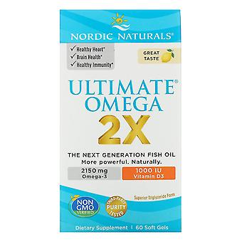 Nordic Naturals, Ultimate Omega 2X con Vitamina D3, Limón, 60 Softgels