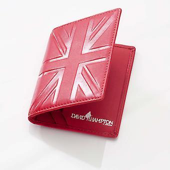 Suporte de cartão de viagem de couro vermelho na Britânia
