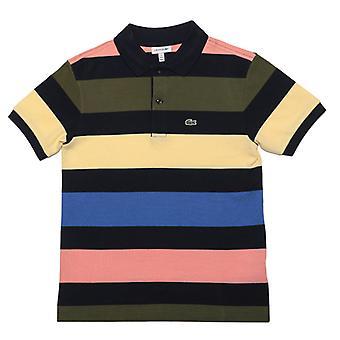 gutt&s lacoste junior stripete polo skjorte i blått
