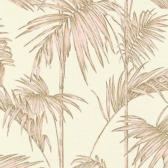 Lola Paris Palm Motif Wallpaper Krém / Pink AS Creation 36919-3
