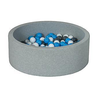 Poço de bola 90 cm com 150 bolas brancas, cinza e azul claro