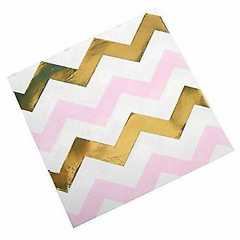 Rosa, guld och vit Chevron papper servetter x 16 Party Babyshower