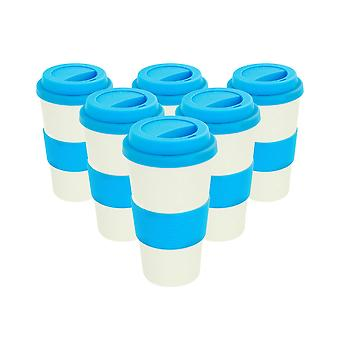 Reusable Coffee Cups - Bamboo Fibre Travel Mugs with Silicone Lid, Sleeve - 400ml (14oz) - Blue - Pack of 6