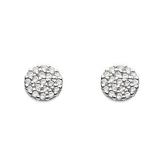 Dew Sterling Silver Cubic Zirconia Disc Stud Earrings 3875CZ020