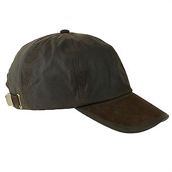 ZH009 (BROWN ONE SIZE ) Hamilton Wax Leather Peak Baseball Cap