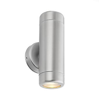 Saxby Lighting Odyssey - Outdoor Wall Lamp IP65 7W Geborsteld roestvrij staal en helder glas 2 licht dimbare IP65 - GU10