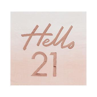 Hello 21 Rose Gold Paper Party Napkins - 21st Birthday Napkins x 16