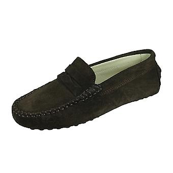 Angela Brown Barnie Boys Suede Moccasin Smart Shoes Slip on - Brown