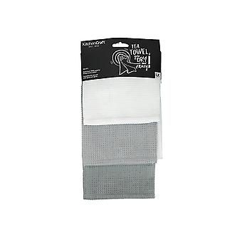 Kitchen Craft Waffle Tea Towel Grey x 3 KCWAFGRYTTPK3